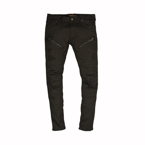 TWILL BIKER PANTS - BLACK