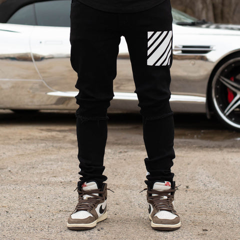 MEN RIPPED STRIPED JEANS - JET BLACK