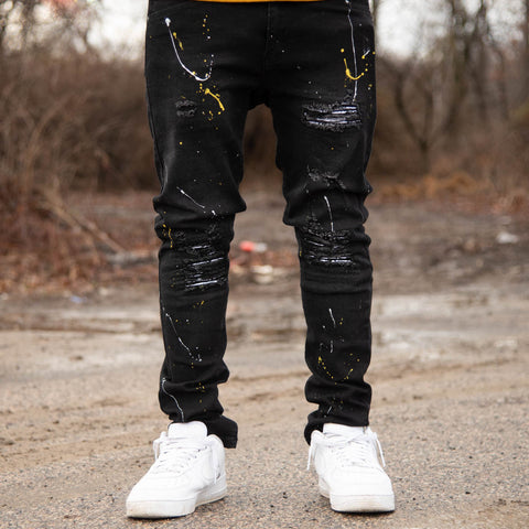 MEN RIPPED PAINT SPLATTER JEANS - BLACK