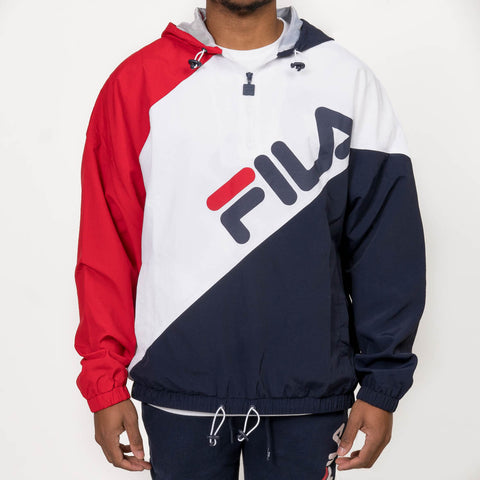 HARRISON 1/2 ZIP NYLON HOODIE - WHITE / NAVY / RED