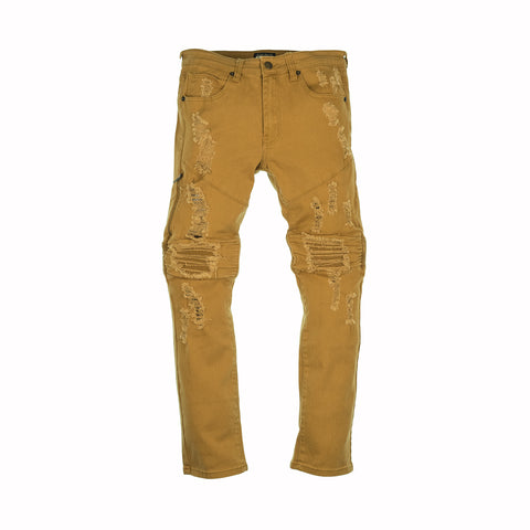RIP AND ZIP MOTO JEANS - MUSTARD