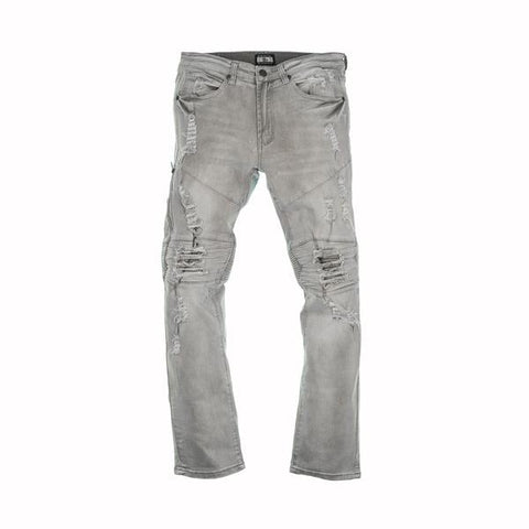 RIP AND ZIP MOTO JEANS - GREY