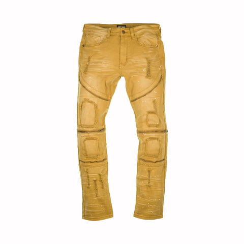 SPLATTER PAINT ZIPPER JEANS - MUSTARD