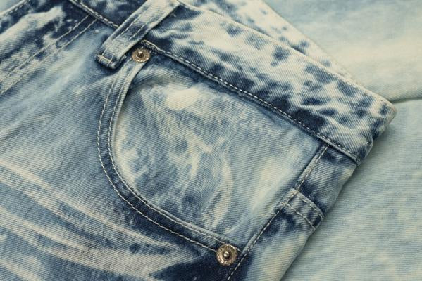 DISTRESSED MOTO JEANS- LIGHT BLUE ACID WASH
