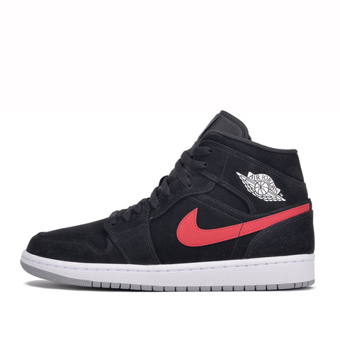 AIR JORDAN 1 MID - BLACK / UNIVERSITY RED