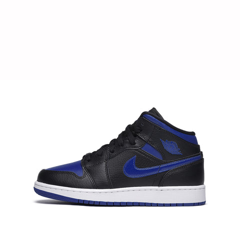 AIR JORDAN 1 MID (GS) - BLACK / HYPER ROYAL / WHITE