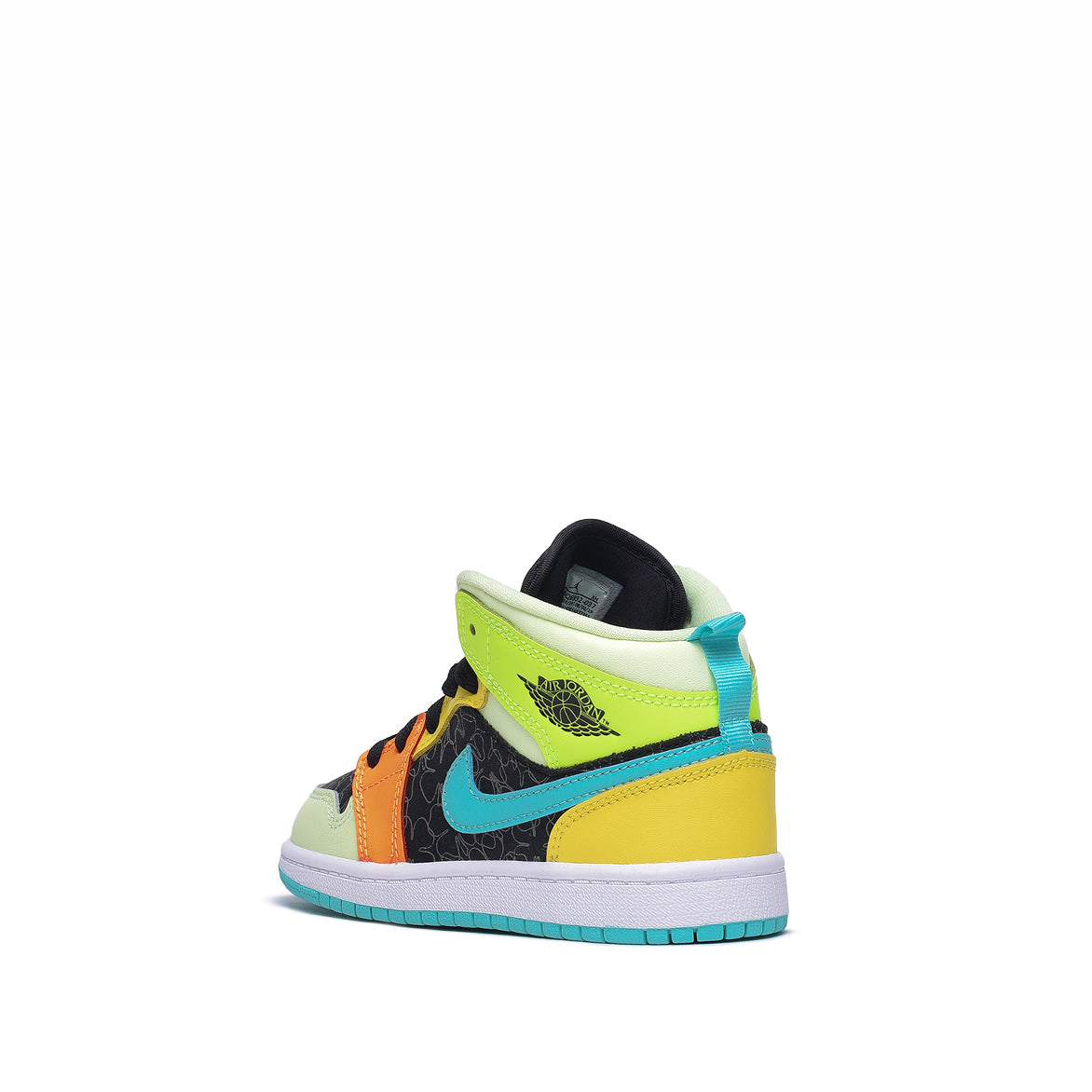 AIR JORDAN 1 MID SE (PS) - BLACK / AURORA GREEN / OPTI YELLOW