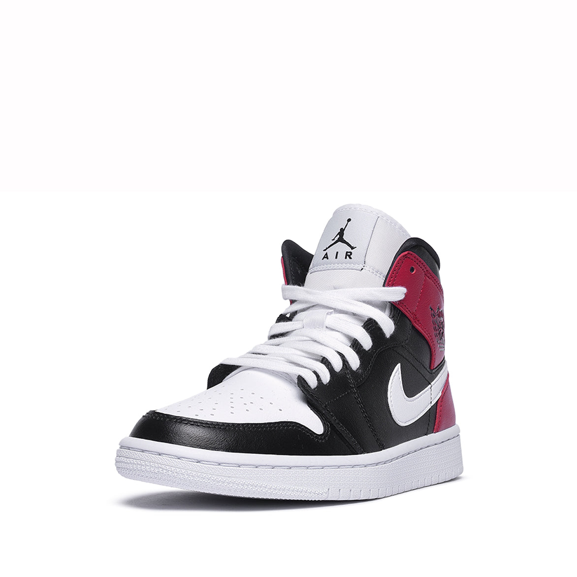 WMNS AIR JORDAN 1 MID - BLACK / WHITE / NOBLE RED