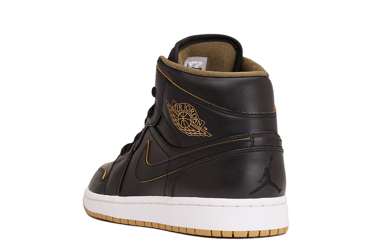 AIR JORDAN 1 MID - BLACK / METALLIC GOLD