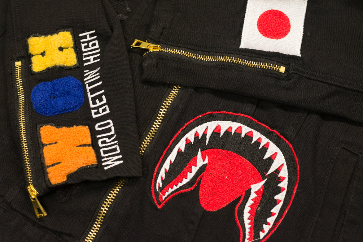 EMBROIDERED SHARK DENIM JACKET - BLACK