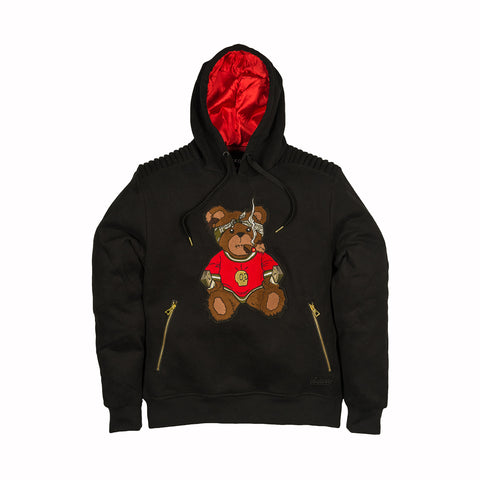 TEDDY BEAR FLEECE PULLOVER - BLACK