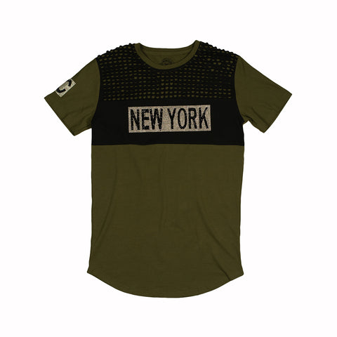 NEW YORK RHINESTONE TEE - ARMY