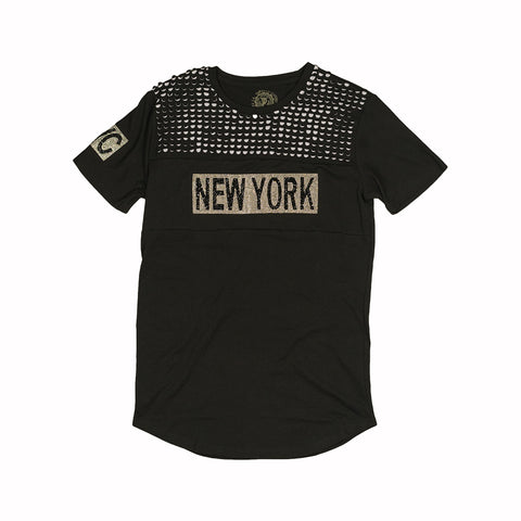 NEW YORK RHINESTONE TEE - BLACK