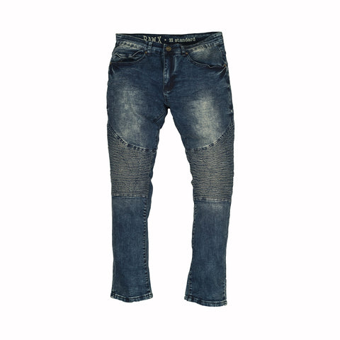 STACKED MOTO JEAN - MEDIUM BLUE