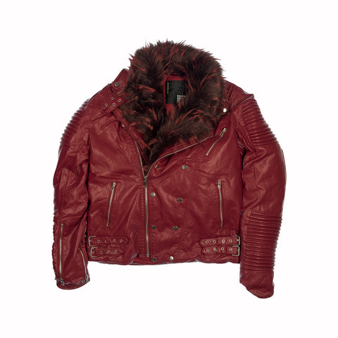FUR COLLAR MOTO JACKET - BURGUNDY