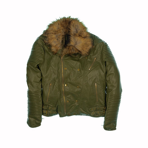 FUR COLLAR MOTO JACKET - OLIVE