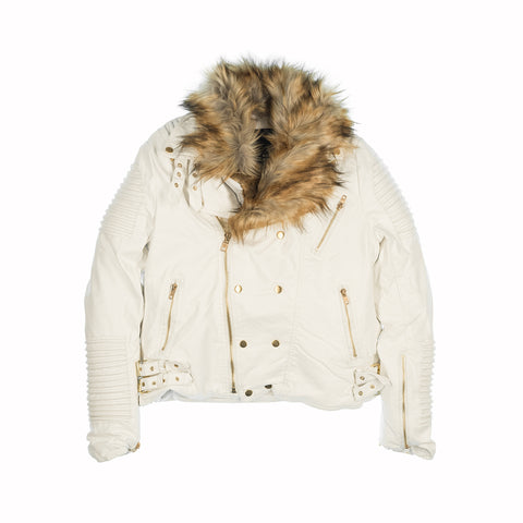 FUR COLLAR MOTO JACKET - WHITE