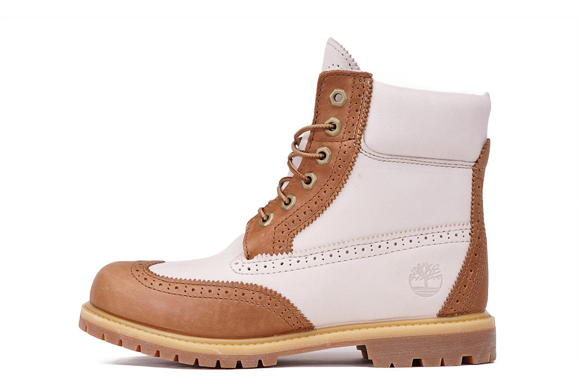 "6"" PREMIUM BROGUE WATERPROOF BOOT (WMNS) - TAN / OFF WHITE"
