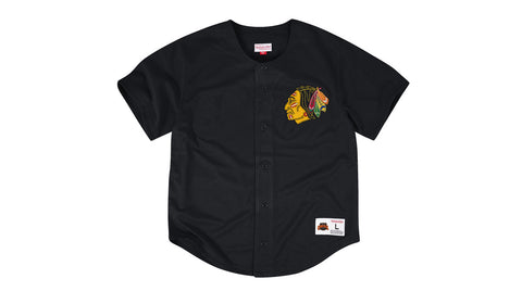 NHL MESH BUTTON FRONT JERSEY - BLACK HAWKS