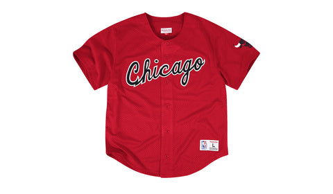NBA MESH BUTTON FRONT JERSEY - BULLS RED