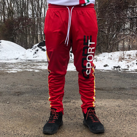 RETRO SPORT TRACK PANTS - RED
