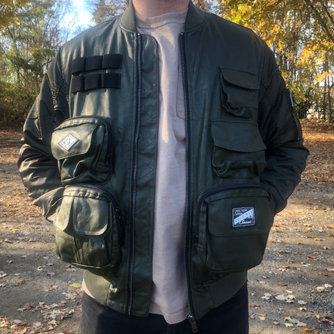 POCKET BOMBER LEATHER JACKET - OLIVE