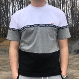 COLORBLOCK TAPE LOGO TEE - GREY / WHITE / BLACK