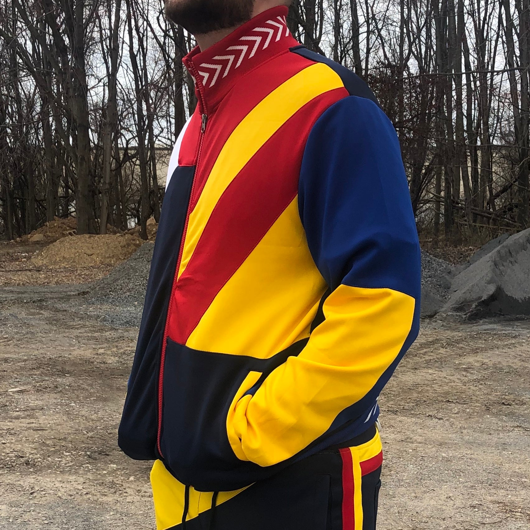 COLOR BLOCK TRACK JACKET - RED