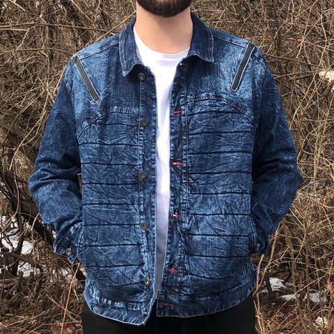 DENIM MOTO JACKET - BLUE
