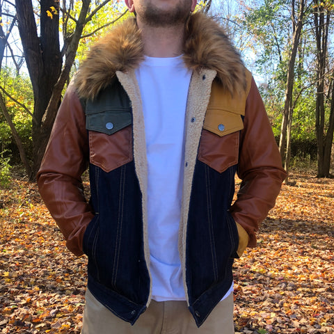 SHERPA DENIM JACKET - BLUE / TAN