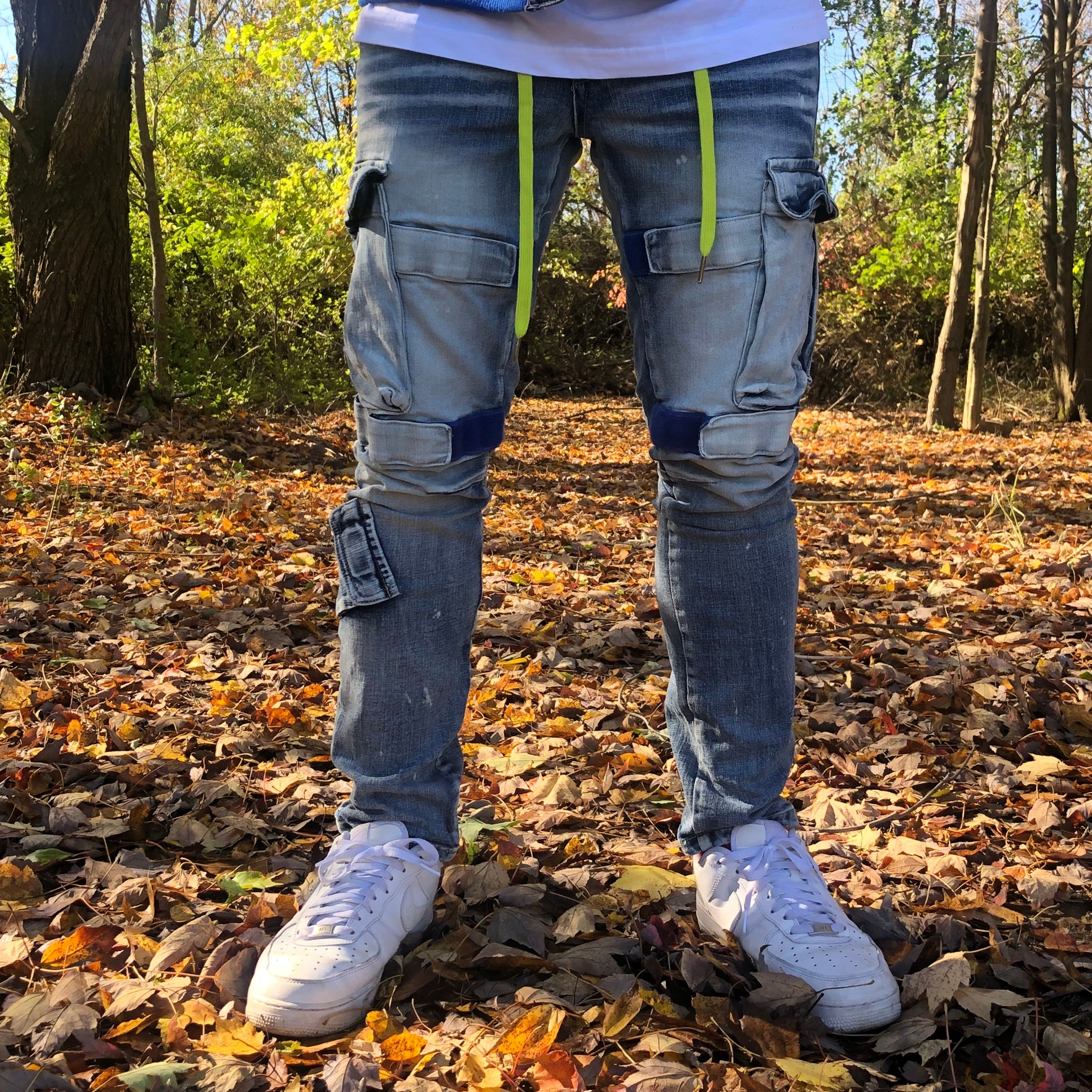 STRAPPED UP JEANS - LIGHT BLUE / ELECTRIC BLUE