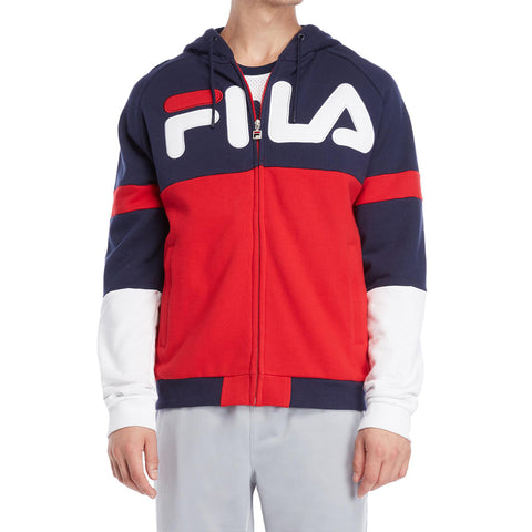 PERCY ZIP HOODIE - RED/ NAVY