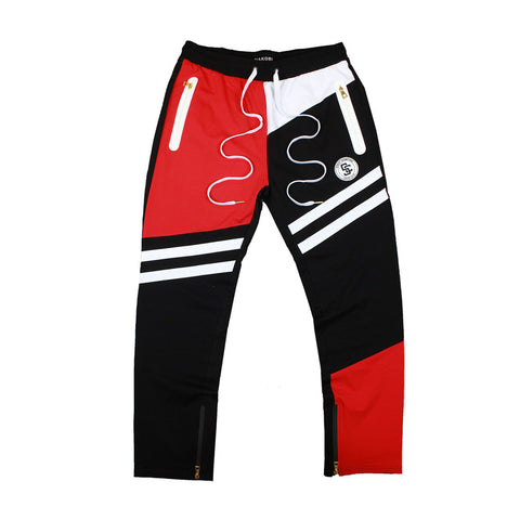 STREET CHAMPS TRACK PANTS - BLACK/ RED