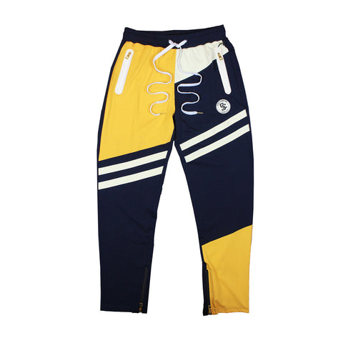 STREET CHAMPS TRACK PANTS - NAVY/ YELLOW