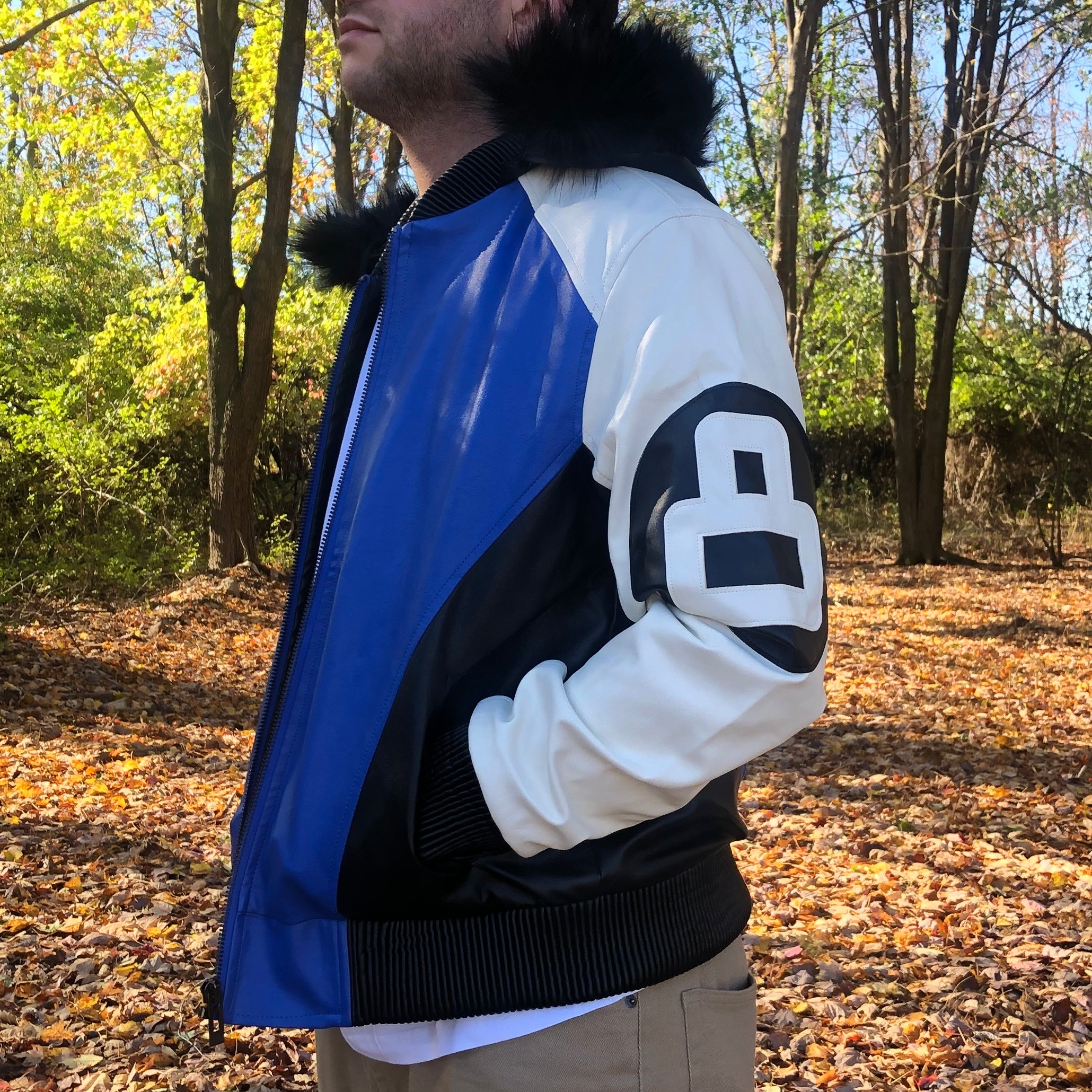 8 BALL LEATHER JACKET - ROYAL BLUE