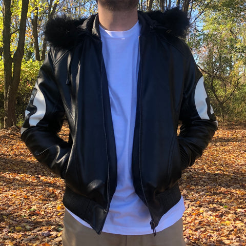 8 BALL LEATHER JACKET - BLACK / WHITE