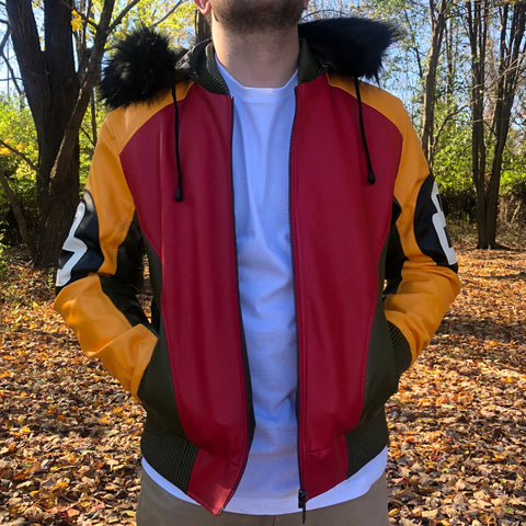 8 BALL LEATHER JACKET - GREEN / RED / YELLOW