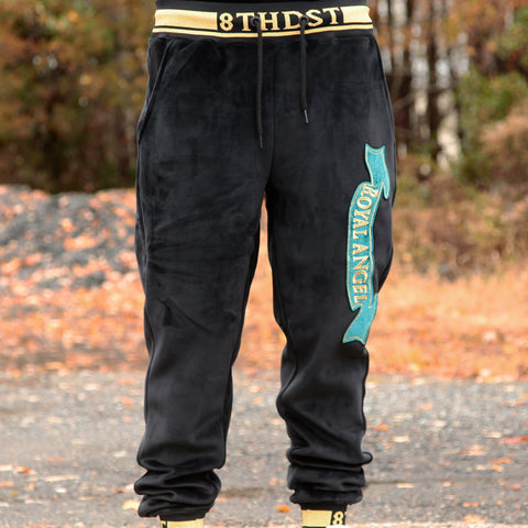ROYAL ANGEL VELOUR JOGGER - BLACK