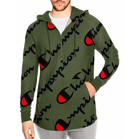 MEN'S FRENCH TERRY REVERSE WEAVE PRINT HOODIE - OLIVE
