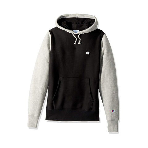 REVERSE WEAVE COLORBLOCK PULLOVER HOODIE - BLACK/ OXFORD GREY