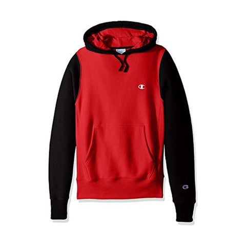REVERSE WEAVE COLORBLOCK PULLOVER HOODIE - BLACK/ RED