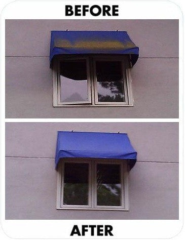 The Customer That Has Blue Awnings Was Absolutely Delighted
