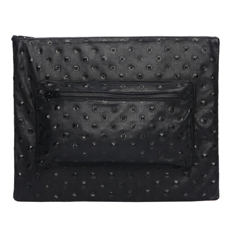 One Fated Knight Oversized Clutch Leather Bag Black