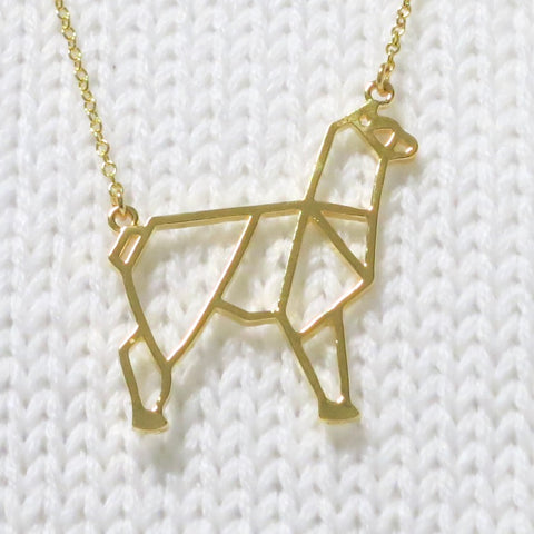 Origami Alpaca Necklace - Creative Ewe