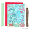Turtle's Soup - Octopus and Coral Reef Tree Christmas Card - Creative Ewe