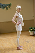 Load image into Gallery viewer, White hemp/organic cotton kundalini yoga stretch yoga legging with fold over waistband