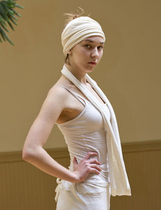 Creamy white kundalini yoga hemp circle scarf made of hemp/organic cotton jersey stretch fabric