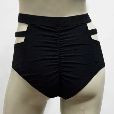 High Waisted Monroe Cutout Sexy Short- Black Supplex