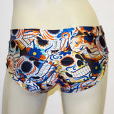 Booty Short/ Pole Dance Short/ Rave Short - Blue Skull