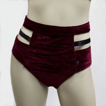 High Waisted Monroe Cutout Sexy Short- Burgundy Velvet